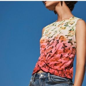 Anthropologie Deletta floral tie front tank small